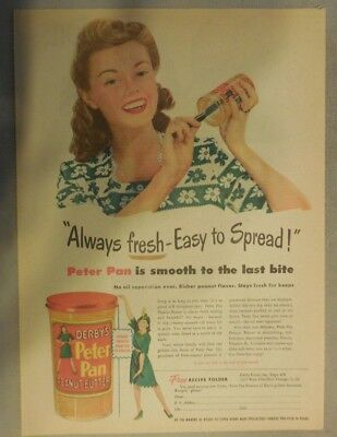 Derby's Peter Pan Peanut Butter Ad: Always Fresh ! from 1940's 11  x 15 inches