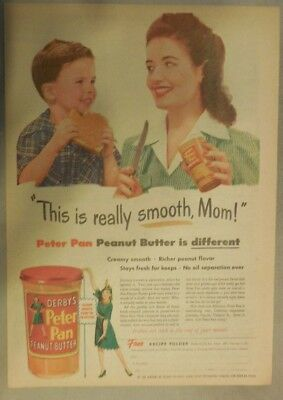 Derby's Peter Pan Peanut Butter Ad: This Is Really Smooth 1940's 11  x 15 inches