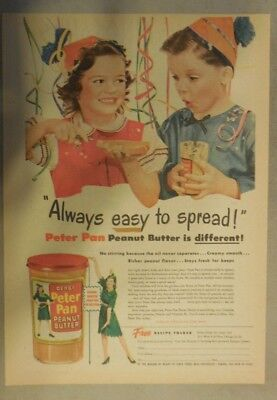 Derby's Peter Pan Peanut Butter Ad: Easy To Spread! 1940's 11  x 15 inches