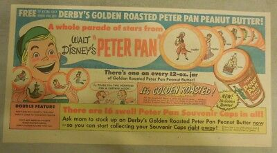 Walt Disney's Peter Pan Ad for Derby's Peanut Butter 1940's 7.5  x 15 inches
