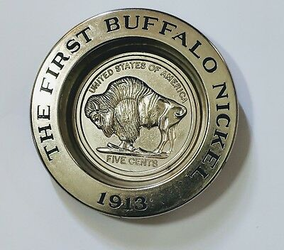 "Avon #4 ""The First Buffalo Nickel 1913"" Metal Trinket Dish Coin Collectors Gift"