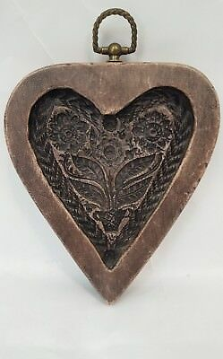 Vintage 1970 Laxa Family Reproduction double heart cookie cutter baking mold