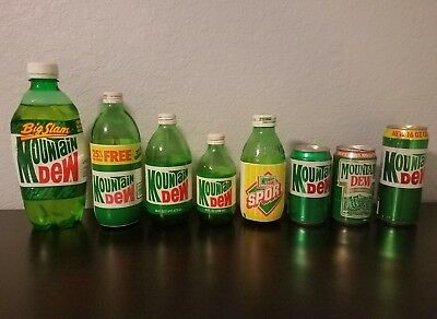 Vintage Mountain Dew Bottle & Can Collection