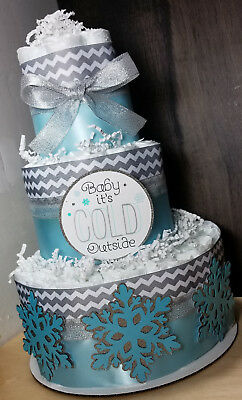 3 Tier Diaper Cake - Baby it's Cold Outside Theme Blue and Silver Snowflakes