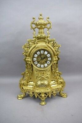 Louis XIV Rococo Mantle Clock Gold Tone Imperial Franz Hermle French Italy