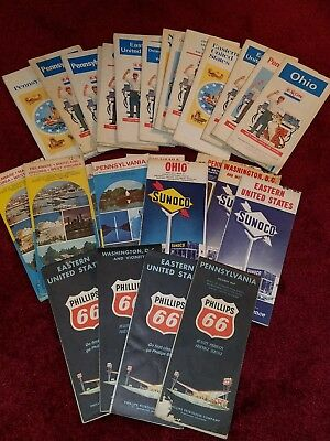 Lot of 30 Vintage Sunoco,Phillips 66,Exxon Oil Gas Station Road Maps,60's & 70's