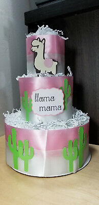 3 Tier Diaper Cake - Llama Mama Theme Pink and Ivory - Cactus Theme Baby Shower