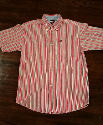 Tommy Hilfiger Button Down Shirt Short sleeve Boys size Large 16-18 Red, White