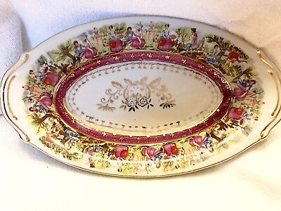 VINTAGE COURTING COUPLES OVAL DISH Rose W/ Gold Multi-Color:Bottom Marked 33/181