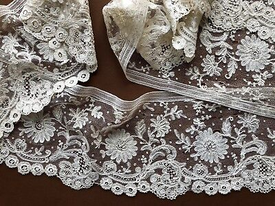 Victorian handmade Point d'Angleterre Brussels bobbin and needle lace flounce