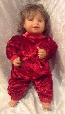 My Twinn Red Velvet Baby Doll by Sandra Bilotto 18'' Posable Christmas w/ Onesy