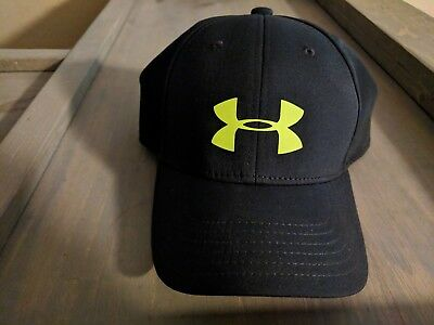 UNDER ARMOUR BLACK with NEON Logo HAT BOY'S YOUTH SM/MD SMALL MEDIUM