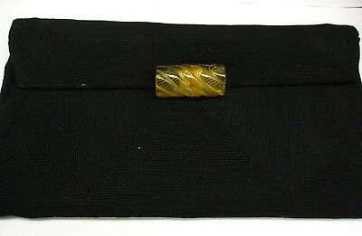 Vintage Genuine Corde Black Clutch Purse with Yellow Bakelite Closure
