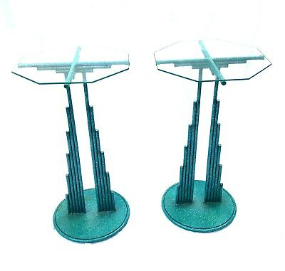 Curtis Jere Brutalist Patinated Steel Pedestal Side Tables Glass 1988 Rare pair