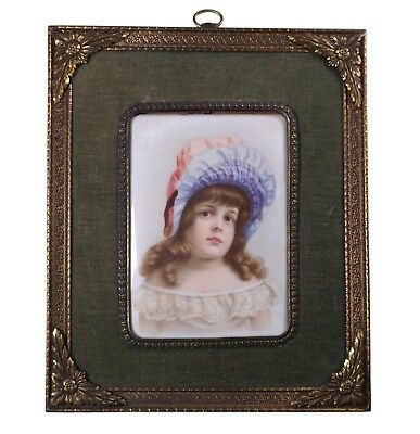 Antique Hand Painted Porcelain Plaque of a Young Child Little Girl - Very Sweet