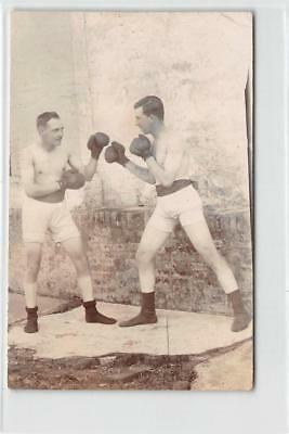 RPPC BOXERS Vintage Sports Boxing Gloves ca 1920s Antique Real Photo POSTCARD