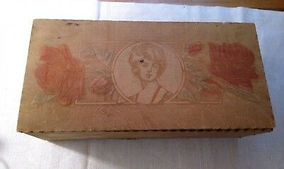 Vintage Pyrography Wood Partitioned Box Victorian Lady Face & Roses Large!