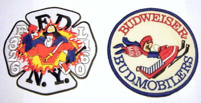 "Bud Man sew on patches, large size 5 "" diameter, set of two patches"