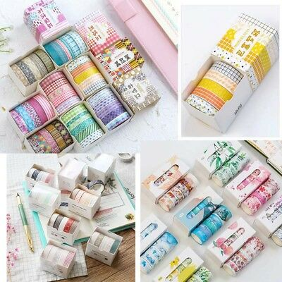 5 Rolls/set Washi Masking Tape Scrapbook Decorative Paper Adhesive DIY Sticker