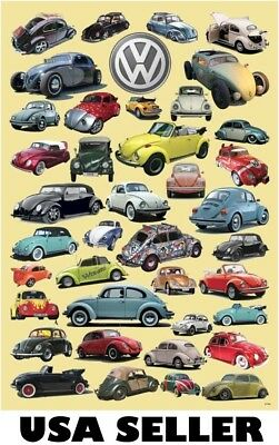 Volkswagen VW Beetle assortment POSTER 23.5 x 34 with 39 models yellow bkgrnd