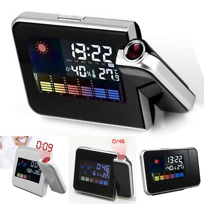 Projector Snooze Color Digital Led Lcd Clock Weather Backlight Alarm Display