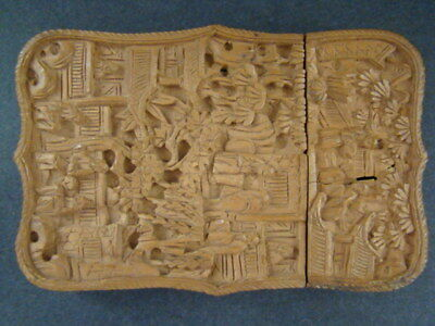 beautiful antique chinese hand carved canton sandalwood card case