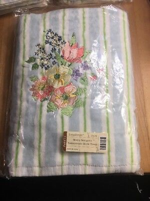 Longaberger Mixed Bouquet Embroidered Bath Towel - NIP 23220 New
