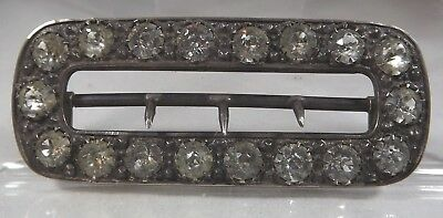 Antique Victorian Sterling Silver Belt Buckle with Paste Stones by Arthur Smith