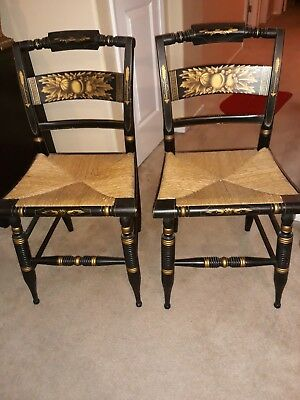 "2 Vintage Hitchcock ""Slatback"" Dining Chairs Black Stenciled w/ Rush Seats"