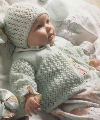 Baby Knitting Pattern  Copy Matinee Coat Bonnet Mitts 8 Ply