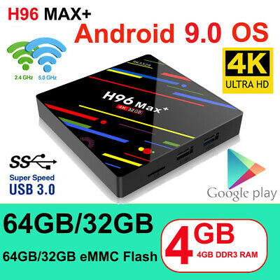 H96 MAX+ smart 4K Android 8.1 4GB+32GB 64GB RK3328 Quad core wifi HD1080 TV Box