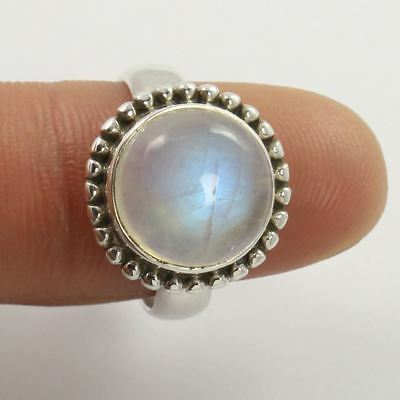 925 Sterling Silver Lovely Ring Size US 5.75 Natural RAINBOW MOONSTONE Gemstone