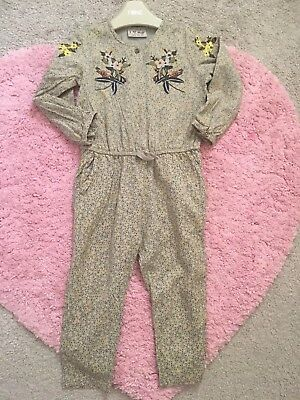 NEXT New Girls Floral Long Sleeve Jumpsuit 2-3 Years Autumn 🍂