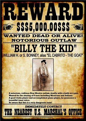 WANTED - REWARD - BILLY THE KID Stampa 20,5x29