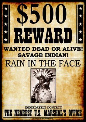 WANTED - REWARD - RAIN IN THE FACE -  Stampa 20,5x29
