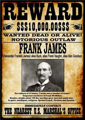 WANTED - REWARD - FRANK JAMES -  Stampa 20,5x29