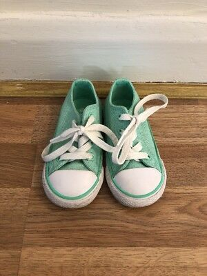 Infant Girl Converse All Stars Lo Chuck Taylor Green Glitter Shoes Trainers UK6