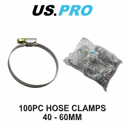 US PRO 100 x 40 - 60mm zinc plated Steel Hose clamps (Jubilee clip style) 2999