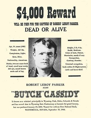 WANTED - REWARD - BUTCH CASSIDY  -  Stampa 20,5x29