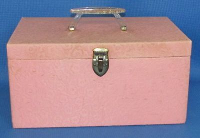 Vintage Mid-Century Pink Floral Quilted Sewing Box Glitter Lucite Handle + Tray