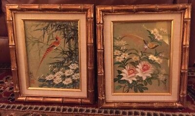 Pair Of Asian Japanese Birds Flowers Hand Painted   Signed Bamboo Look Frames