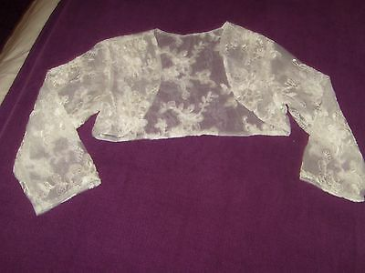 Wedding new brides white top summer jacket  size 6 - 8 sml shrug lace top 24.99p