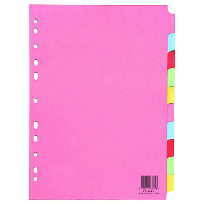 10 x A4 Ring Binder Lever Arch File Index Dividers 10 Part Subject Folder Cards