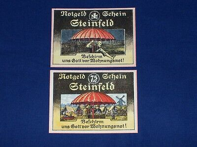 Set of 2 Different German Notgeld Issued by the Town of Steinfeld Na1