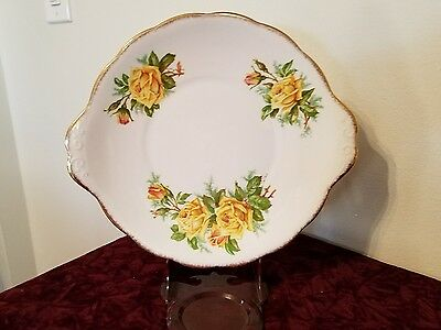 Antique Royal Albert, yellow tea rose, round cake plate with handle