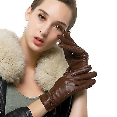 Women's Classic Genuine Nappa Leather Gloves Pure Cashmere Lining Winter Warm...
