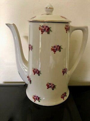 Pretty Vintage Crown Ducal Coffee Pot - Pink Floral Pattern