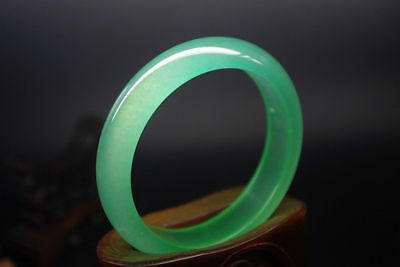 67mm Exquisite Chinese natural ice-green jade hand-carved jewelry jade bangle