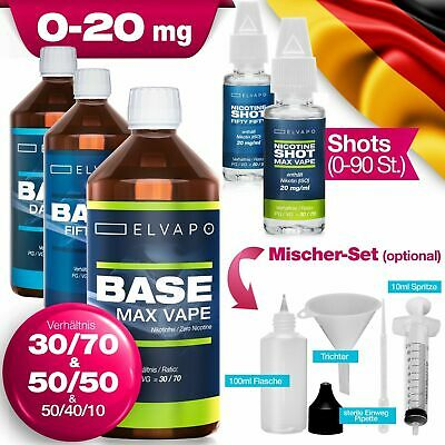 Elvapo Liquid Basen Set + Nikotin-Shots 0/3/6/9/12/15/18/20 mg/ml E-Zigarette