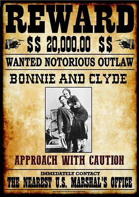 WANTED - REWARD - BONNIE AND CLYDE  -  Stampa 20,5x29